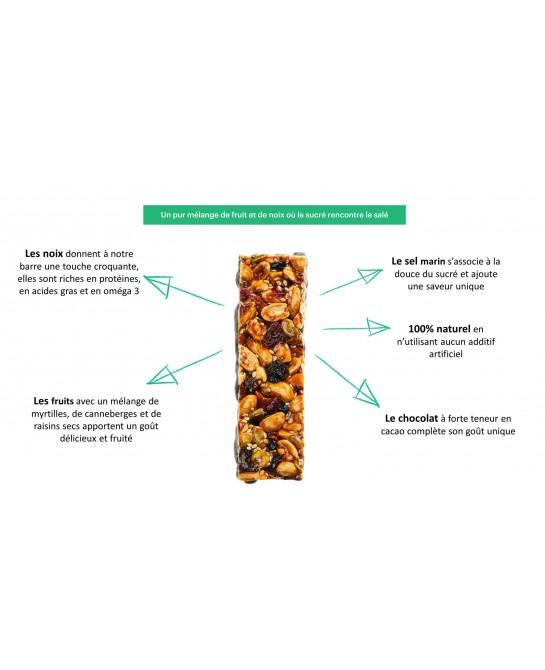 Barre Naturelle PULSAAR (60g) Myrtilles, chocolat et sel marin Boîte de 12 barres